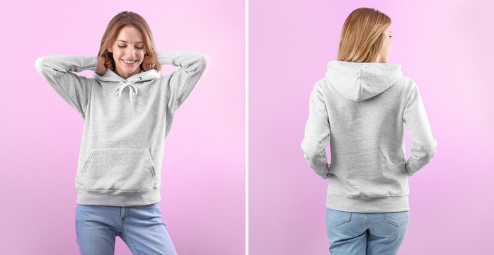 Young woman in blank hoodie sweater on color background, front and back views. Mock up for desing