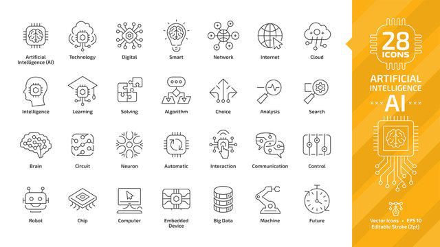 Vector artificial intelligence editable stroke thin outline icon set with machine learning, smart robotic and cloud computing network digital AI technology: internet, solving, algorithm, choice sign.