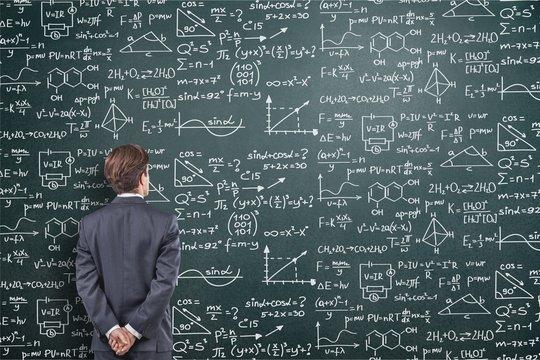 Albert einstein algebra background blackboard board business calculations