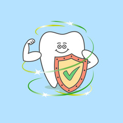 Cartoon tooth with a shield and a check mark. Dental care and hygiene icon. Healthy teeth.