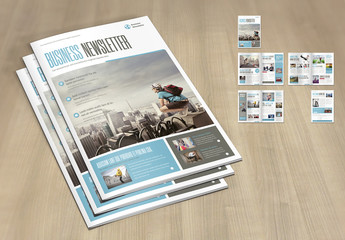Brochure Layout with Pale Blue and Gray Accents
