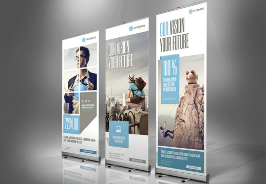 Roll-Up Banner Layout with Pale Blue and Gray Accents