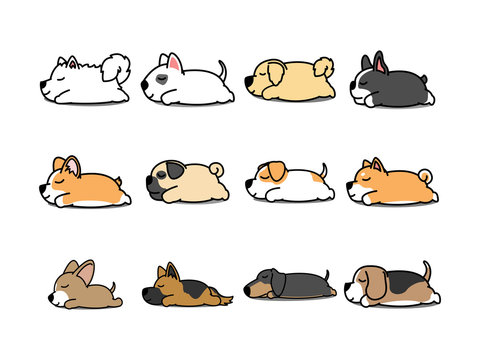 Lazy dog sleeping cartoon icon set, vector illustration