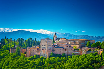Famous Alhambra in sunset
