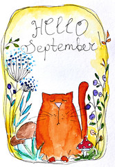 "Watercolor postcard illustration with cute cartoon cat and inscription ""Hello September"""