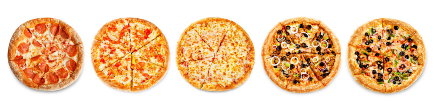 Set of pizzas: pepperone, cheese, chicken and tomatoes, tuna, shrimp