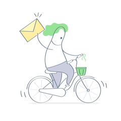 Courier bicycle delivery man carrying package with parcel box, mail envelope in his hand. Delivery boy, ecological bike delivering concept