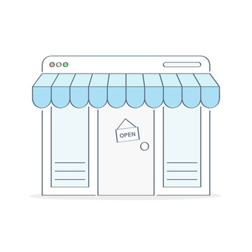 Storefront. Store, market, cozy shop building exterior, small business. Outline vector illustration in trendy color style, premium quality