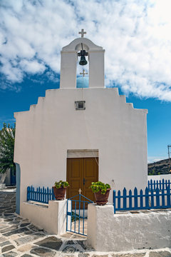 Church with bell tower in Lefkes, Greece