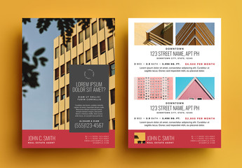 Real Estate For Sale Postcard Layout with Red Accents