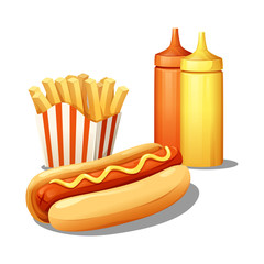 Hot dog, french fries and sauce vector illustration design