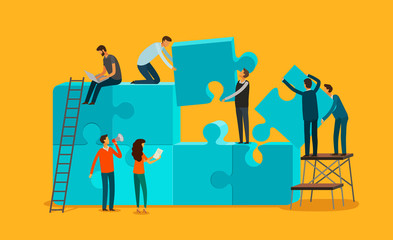 Team work concept. Business, teamwork infographics. Pieces of a puzzle vector illustration