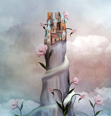 Surreal little village over a mountain with surreal roses - 3D illustration