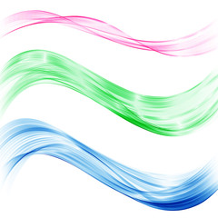 A set of transparent abstract waves of blue, green and pink. The design element.