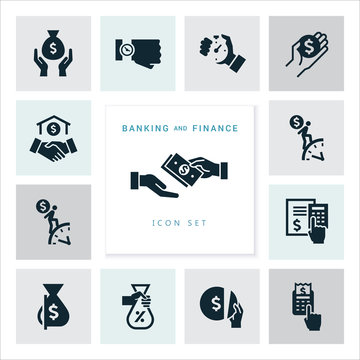 Set of flat design concept icons for finance, banking, business, payment, and monetary operations. Icons for infographics, website development, and mobile phone services, and apps.