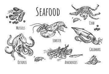 Healthy exotic seafood collection