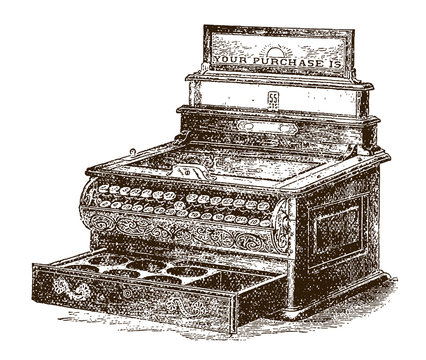Antique mechanical cash registeror till with open drawer, after an etching or engraving from the 19th century
