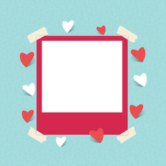 Blank photo frame with love icon