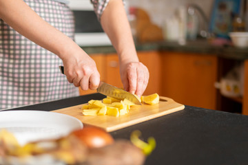 female hands cook food for the guests on holidays b