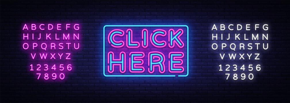 Click Nere Neon Text Vector. Click Nere neon sign, design template, modern trend design, night neon signboard, night bright advertising, light banner, light art. Vector. Editing text neon sign