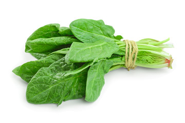 fresh spinach bundle isolated on white background