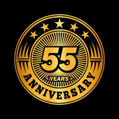 55 years anniversary. Anniversary logo design. Vector and illustration.