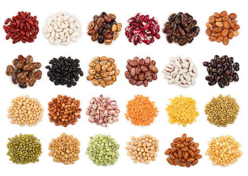 mix legumes isolated on white background. Top view. Flat lay