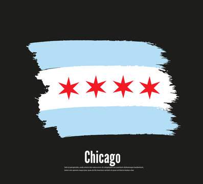 Chicago vector flag vector illustration concept image icon