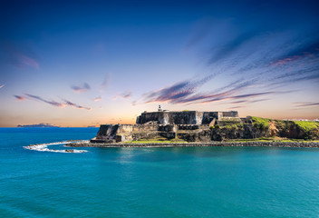The old fort of El Morro on the coast of San Juan Puerto Rico Wall mural