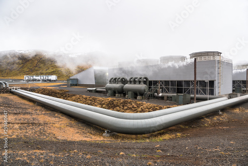 View of a Geothermal Power Plant with Big Steam Pipes on a