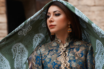 Beautiful middle eastern woman wearing traditional dress