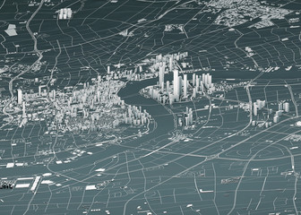 Satellite view of Shanghai, map of the city with house and building. Skyscrapers. China. People's Republic of China. 3d rendering