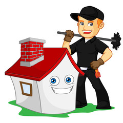Chimney Sweeper holding chimney sweep broom