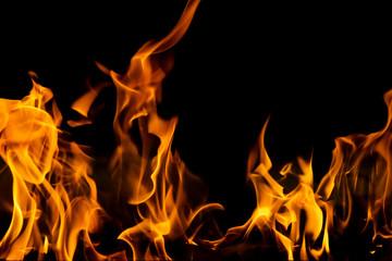 Background orange fire flame closeup, Blaze forest fire Wall mural