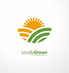Locally grown farm fresh product simple logo design idea with farm fields and sun shape. Vector logo symbol for agricultural industry business. Organic natural food icon template.