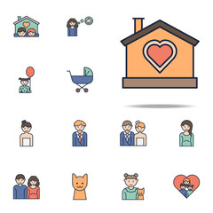 house with love cartoon icon. Family icons universal set for web and mobile