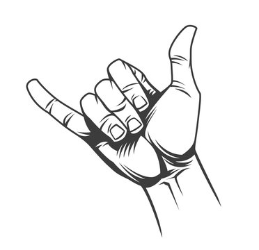 Surfer or shaka hand sign concept