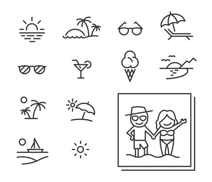 Summer holiday icons in editable outline style