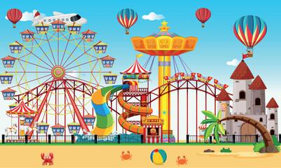 An amusement park next to the beach