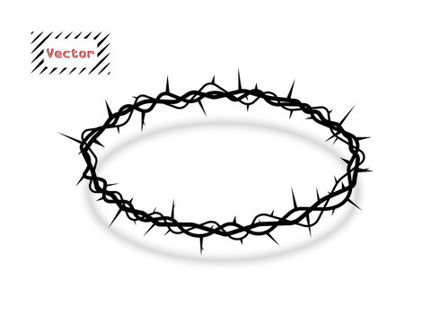 Vector crown of thorns, oval with shadow. The symbol of Christian Easter, the resurrection. The element is isolated on a light background.
