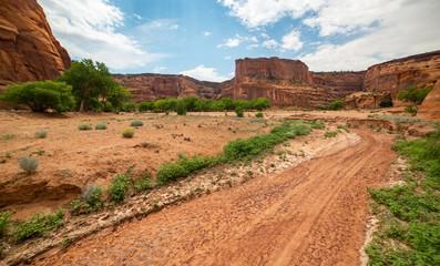 Dry desert Wash  in Canyon de Chelly National Monument, Navajo Nation, Arizona, USA