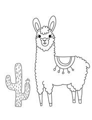Llama Cute Coloring Page