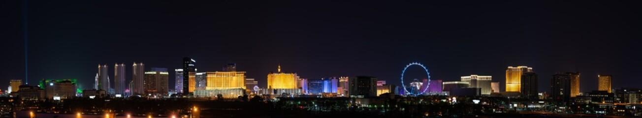 Foto op Canvas Las Vegas Ultrawide Las Vegas City Lights Skyline Panoramic Panorama of the strip casinos and hotels