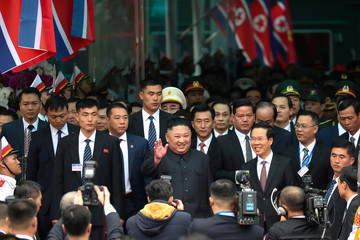 North Korea's leader Kim Jong Un arrives at the Dong Dang railway station