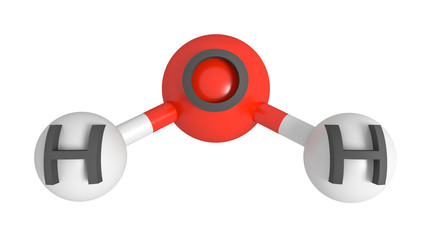 Water molecule with labelled oxygen and hydrogen atoms