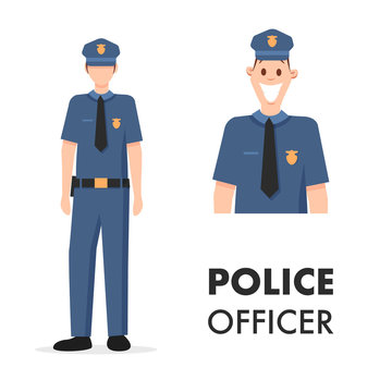 Male Character Policeman Head Shot and Full Length