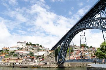 detail of the dom luis I bridge in porto