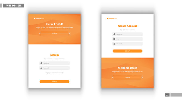 Web design mockup with sign in and sign up design