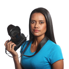 Mixed race female photographer with DSLR camera