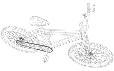 Sport. Isolated bicycle, Vector wireframe concept. Created illustration of 3d. The layers of visible and invisible lines are separated.